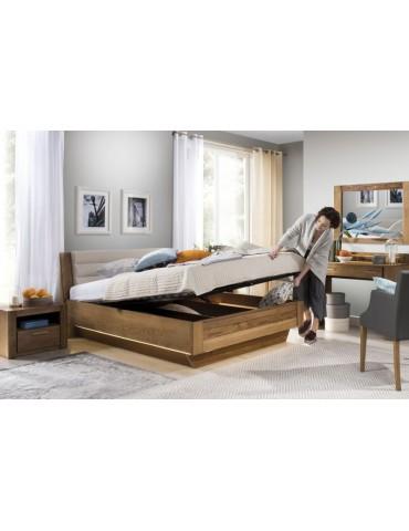 niebanalne łóżko z pojemnikiem Velvet 74 z tapicerowanym wezgłowiem- Szynaka Meble-Salon Meblowy