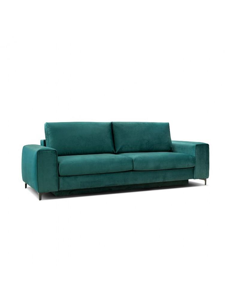 zielona Sofa MOON 3 osobowa z funkcją spania bok L - Befame - Meble Empir